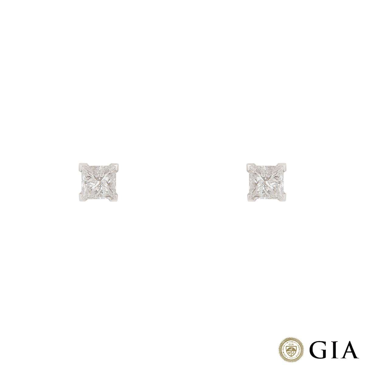 Princess Cut White Gold Diamond Earrings